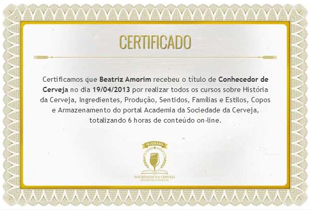Certificado Academia da Cerveja